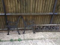 Cast iron garden bench ends and back plate