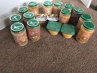 13 Heinz baby jars 2 organix pots and 2 fruit custard pots