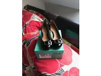 Ladies size 5 black patient shoes worn once bought in clarks