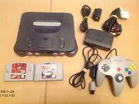 Nintendo 64 N64 Console + 2 Games Top Gear Overdrive, WWF Attitude Get It Akkaim Sports