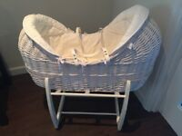 Mamas and Papas White Basket Crib with Rocking Stand