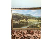Large landscape scene picture gold framed