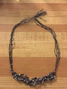 Black, grey, white string necklace