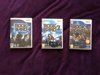 Rock Band, Rock Band 2 , Rock Band 3 Nintendo Wii (used, no damage)