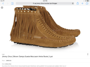 Jimmy Choo  Brown suede ankle moccasin boots size 40