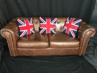 Traditional Luxury Leather Chesterfield Style Antique Tan Brown 2 Seater Sofa