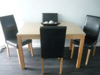 OAK DINING TABLE AND 4 FAUX LEATHER BROWN DINING CHAIRS