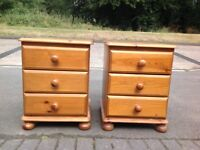 Pair Solid Pine Bedside Chest of Drawers