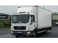 2013 MAN TGL SERIES 7.180 WITH 22FT BOX BODY AND TAIL LIFT.