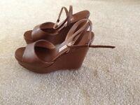 Ladies Tan Leather Designer Sandals Wedges Size 4 (EUR 37) L'Autre Chose (Designer) Made in Italy