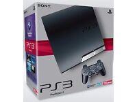 SLIM PLAYSTATION 3 250GB IN BOX, 2 CONTROLLER, Wireless Key Pad, BLUE RAY REMOTE CONTROL , 9 GAMES,