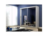 5 new colors!! 6 different sizes!~! BERLIN 2 DOOR SLIDING WARDROBE WITH FULL MIRROR-EXPRESS DELIVERY