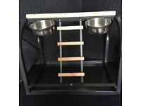 Parrot stand & food