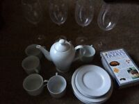 Tea pot and cups, extra large wine glasses and 10 cookbooks