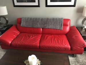 Beautiful All Leather Couch and Chair - Excellent Condition