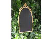 Gold arched chalkboard menu ornate chalkboard metal gold menu chalkboard