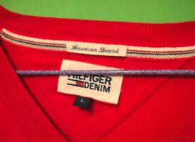 (Hilfiger) Red V-Neck Jumper Mens. Size: L(M), new, genuine product. £25