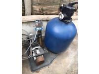Swimming pool pump sand filter and heater exchanger