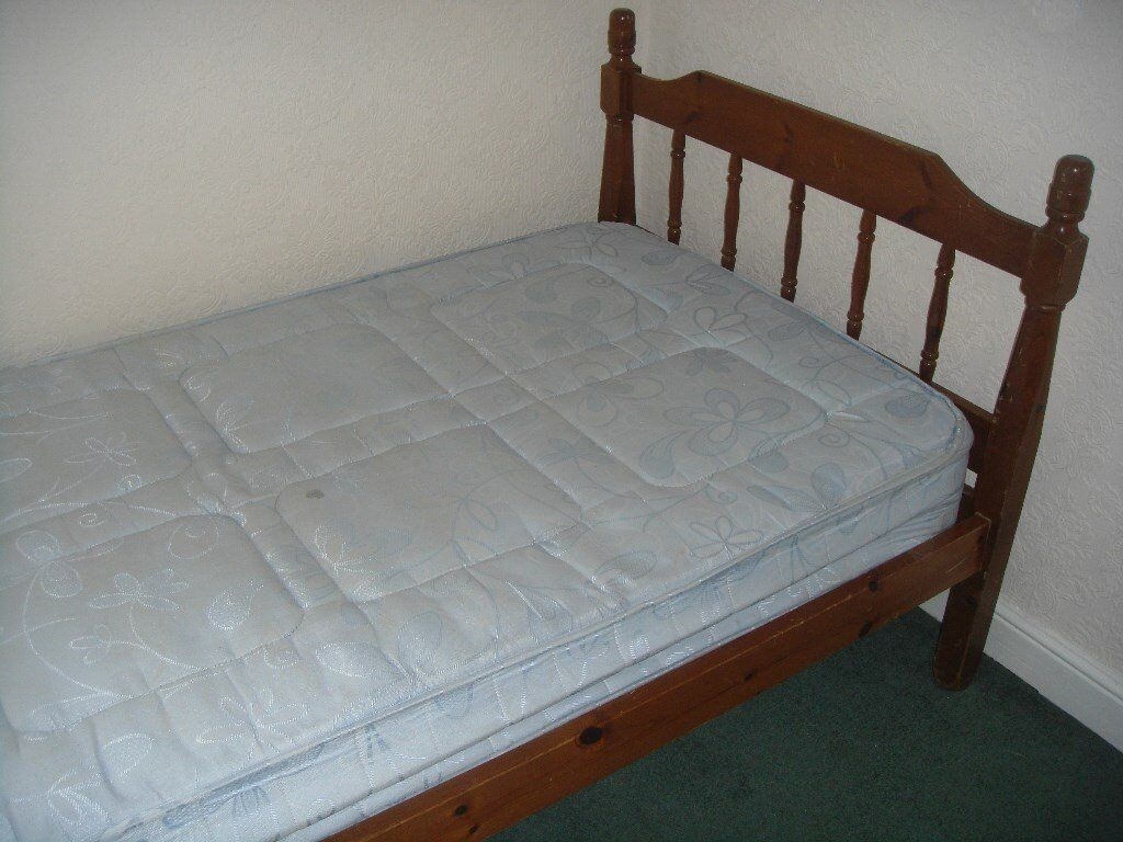 SINGLE BED WITH MATTRESS REAL WOOD