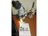 Vision Engineering Alpha Zoom Stereo Microscope with ISIS Head, Doubler on arm + light