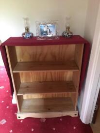 Three level hardwood bookshelf