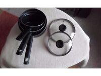 Tefal Optimal Technology 3 piece non-stick saucepan set - used