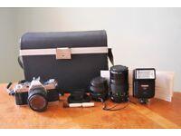 Canon AV-1 35mm SLR Film Camera with 3 Lenses, Original Case + Accessories