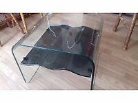 COFFEE TABLE, clear glass with smoked glass wavy shelf