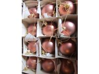 box of 12 bauble bronze metallic christmas decorations