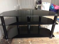 Dark Glass Three Tier TV stand with cable tidy feature