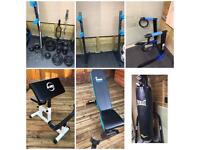 Olympic weights,benches,punchbag like new