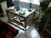 Cane table/plant stand/plants