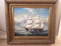 Beautiful oryginal oil painting of XIX century vessel