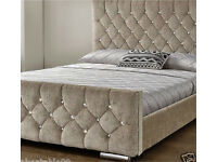 Diamond upholstered fabric frame bed velvet chenille double