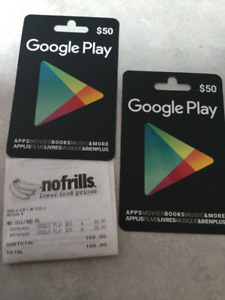 2 GOOGLE PLAY GIFT CARDS
