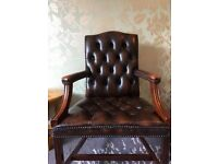 Brown Leather Chesterfield Desk Chair