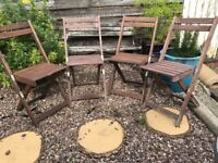 4 foldable wooden patio chairs (£15/ea or £50/set)