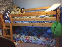 Pine mid sleeper bed and mattress