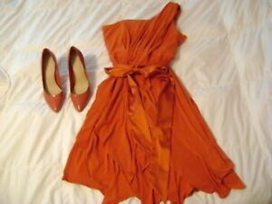 Burnt orange dress with matching shoes