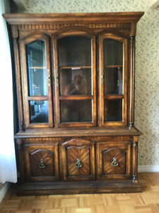 Wood china cabinet and hutch