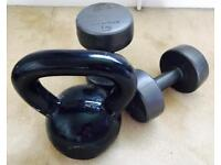 16KG Kettle bell and Weider dumbbells