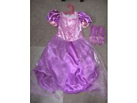 Disney Store Rapunzel Dress and Shoes Age 7-8