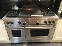 "Wolf professional 48"" dual fuel 4 burner range with French top"