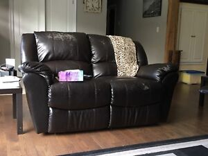 Worn leather couch and loveseat for sale