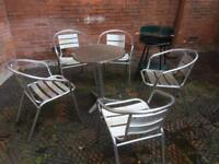 garden table & 5 chairs, barbecue