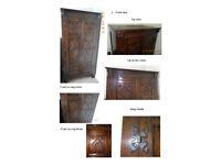 Solid Oak Carved Double-Door Wardrobe