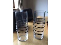 9 Large Clear Glass Vases with black detail