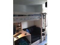 High sleeper bed plus pull out futon and desk