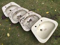 Four (4) old enamel steel basins - feed or drink troughs ?