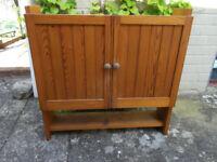 Pine double door bathroom cabinet